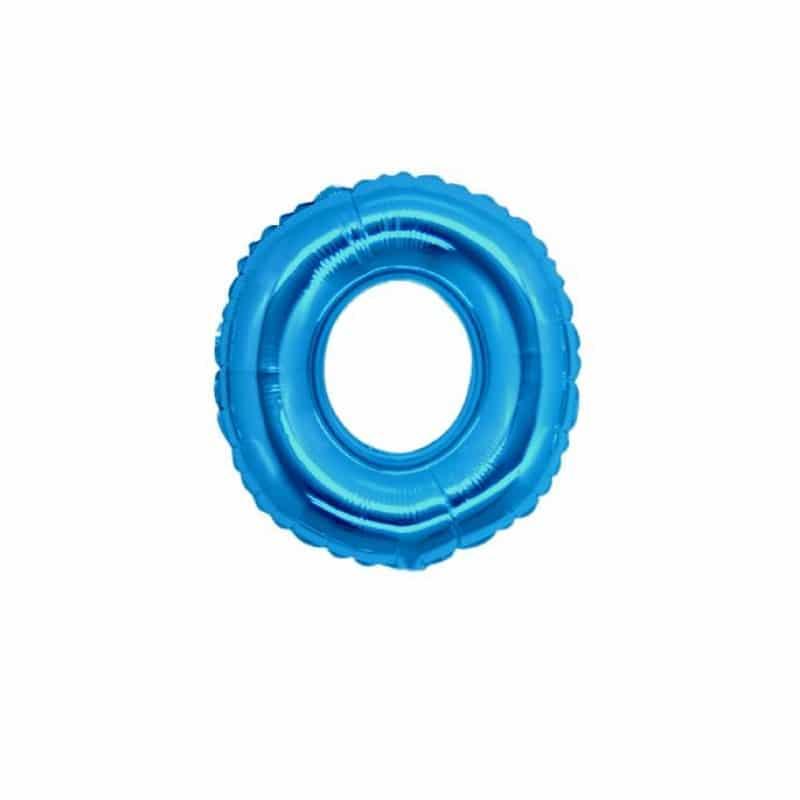 palloncini forma lettera O blu lettere piccole