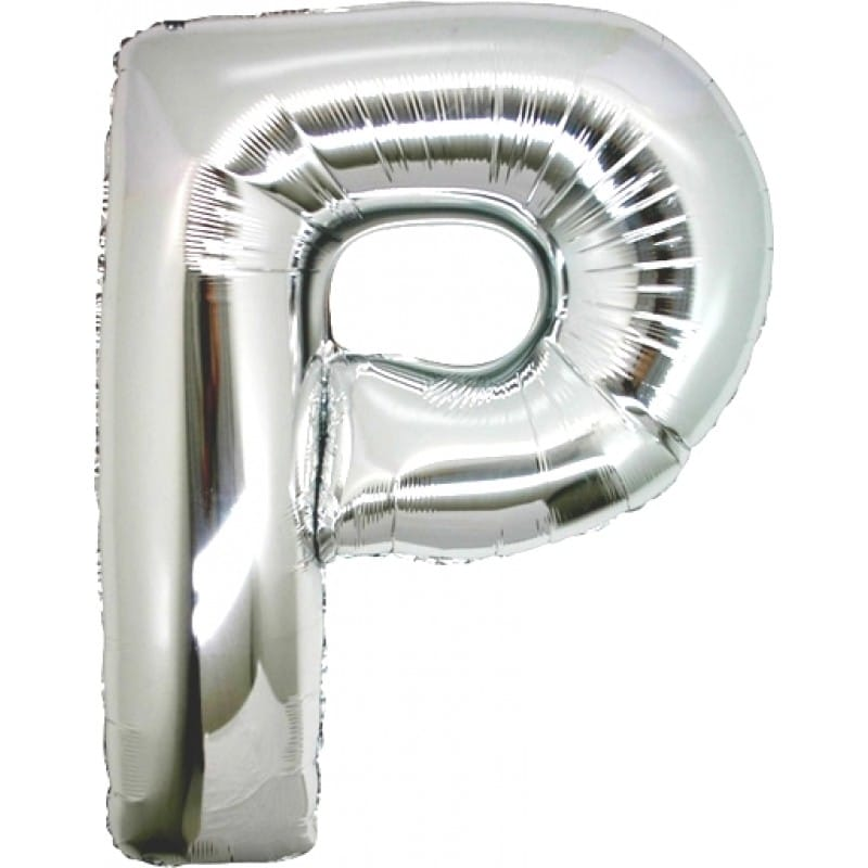 palloncini forma lettera P argento lettere giganti