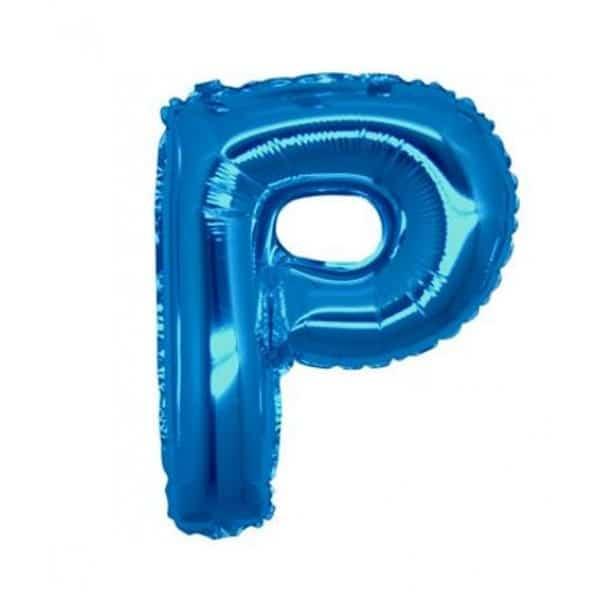 palloncini forma lettera P blu lettere medie