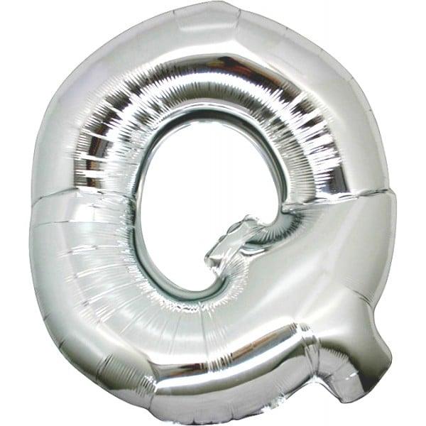 palloncini forma lettera Q argento lettere giganti