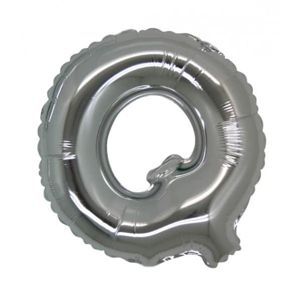 palloncini forma lettera Q argento lettere medie