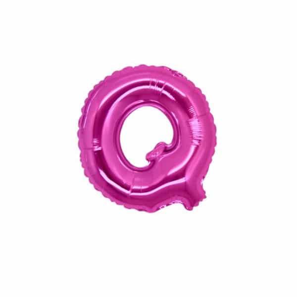 palloncini forma lettera Q fucsia lettere piccole