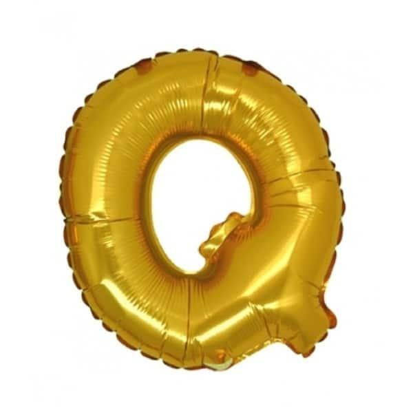 palloncini forma lettera Q oro lettere medie