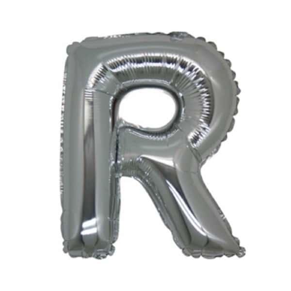 palloncini forma lettera R argento lettere medie