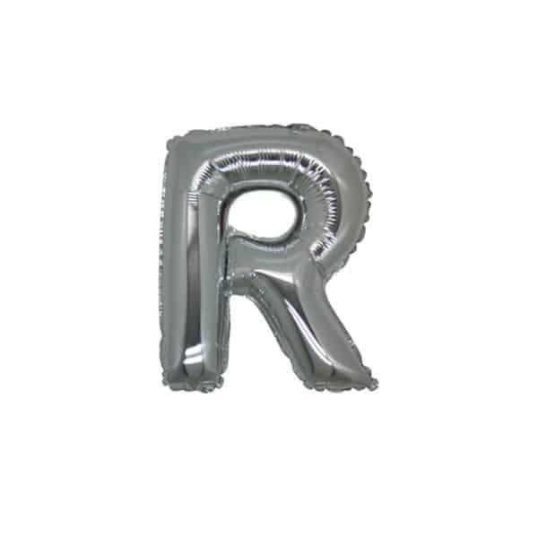 palloncini forma lettera R argento lettere piccole