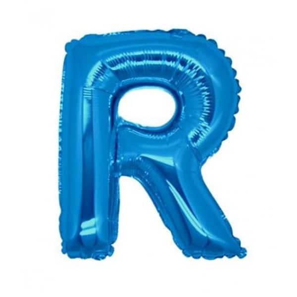 palloncini forma lettera R blu lettere medie