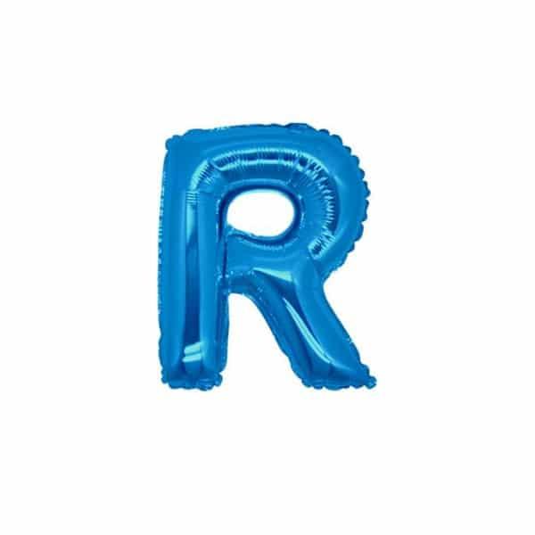 palloncini forma lettera R blu lettere piccole