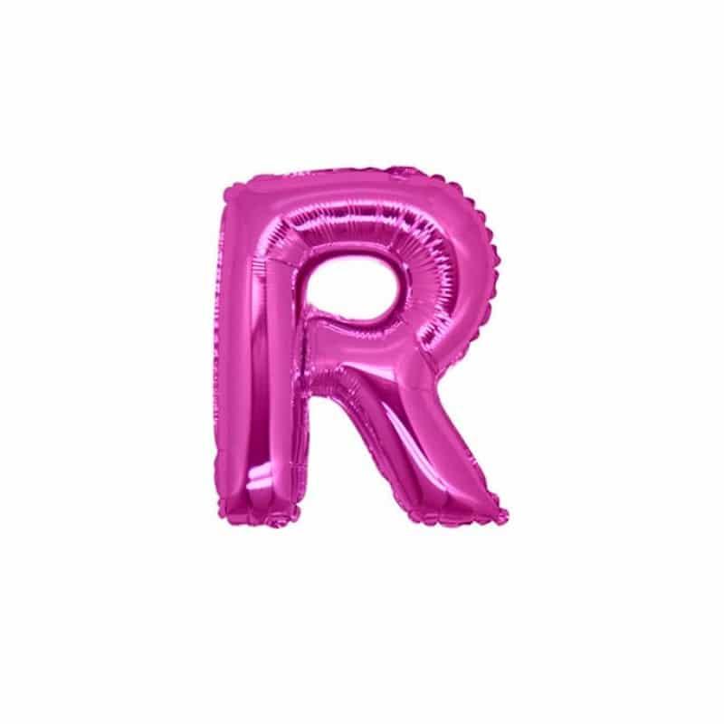 palloncini forma lettera R fucsia lettere piccole