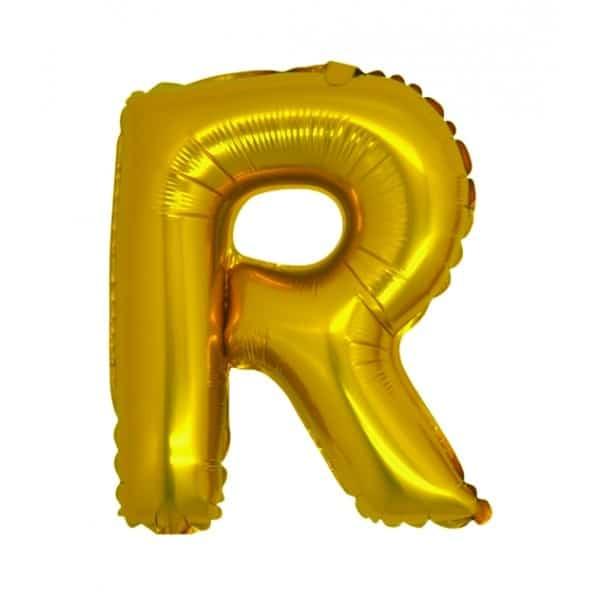 palloncini forma lettera R oro lettere medie