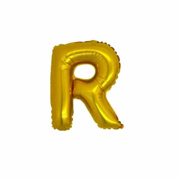 palloncini forma lettera R oro lettere piccole