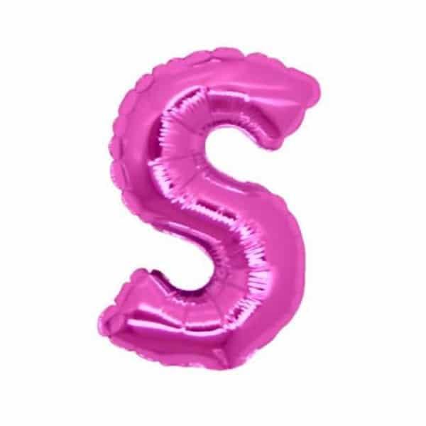 palloncini forma lettera S fucsia lettere medie