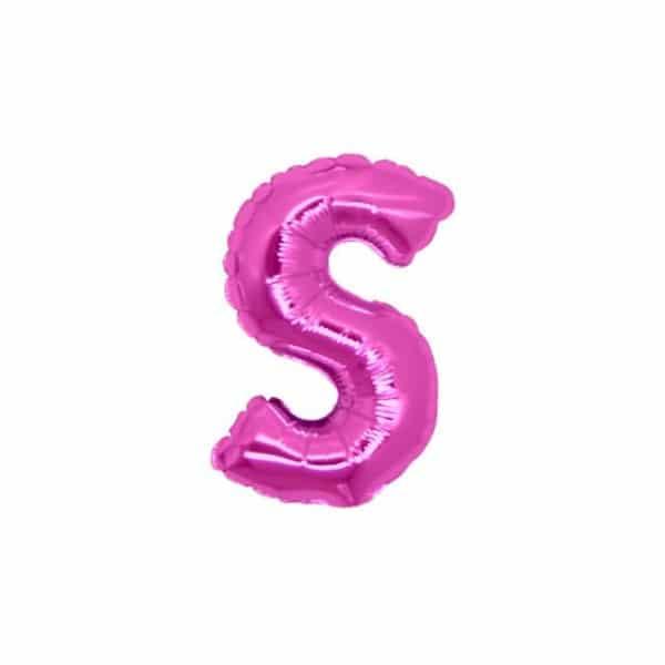 palloncini forma lettera S fucsia lettere piccole