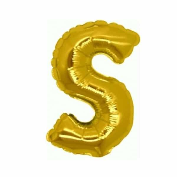 palloncini forma lettera S oro lettere medie