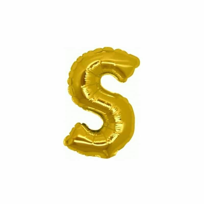 palloncini forma lettera S oro lettere piccole