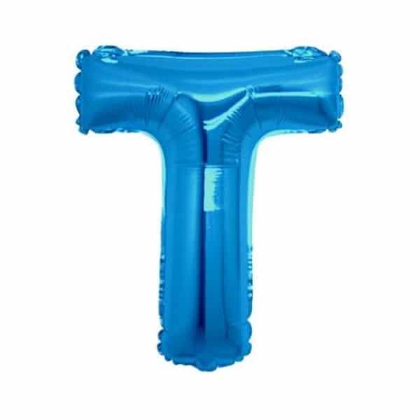 palloncini forma lettera T blu lettere medie