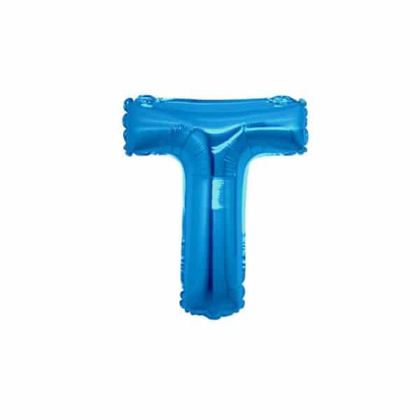 palloncini forma lettera T blu lettere piccole