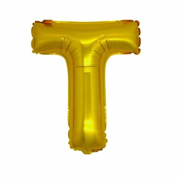 palloncini forma lettera T oro lettere medie