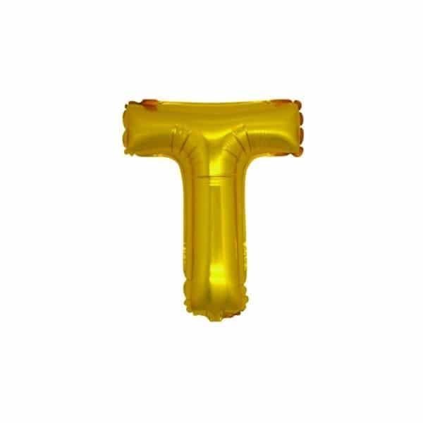 palloncini forma lettera T oro lettere piccole