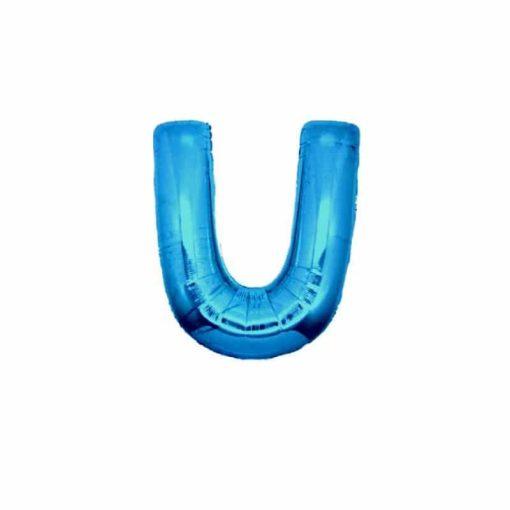 palloncini forma lettera U blu lettere piccole