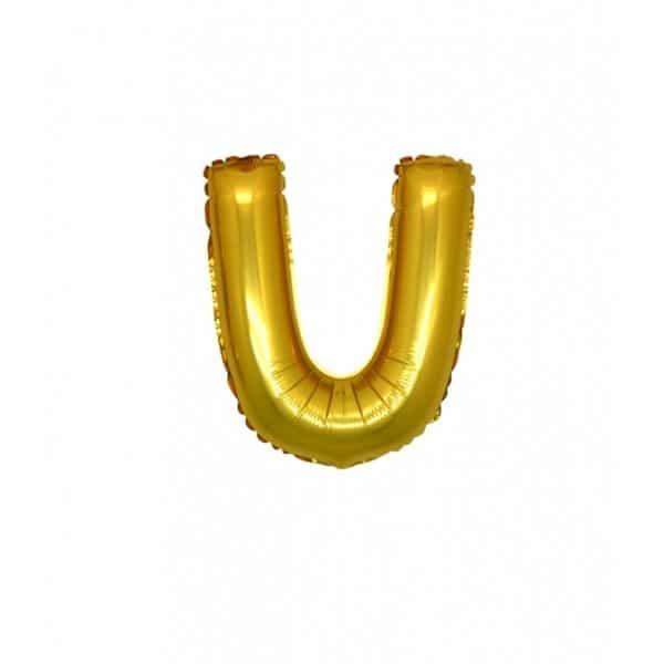 palloncini forma lettera U oro lettere piccole
