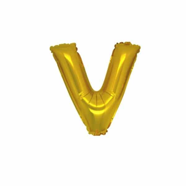 palloncini forma lettera V oro lettere piccole