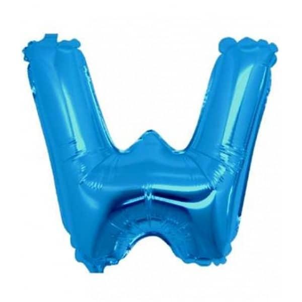 palloncini forma lettera W blu lettere medie