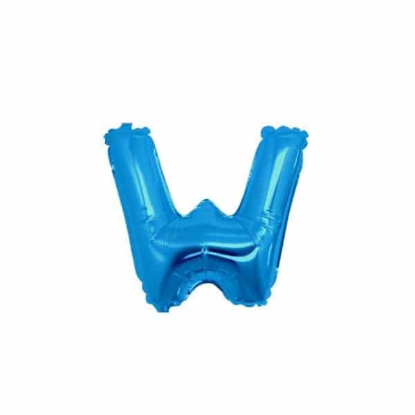 palloncini forma lettera W blu lettere piccole