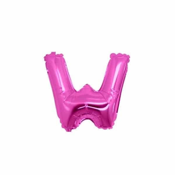 palloncini forma lettera W fucsia lettere piccole
