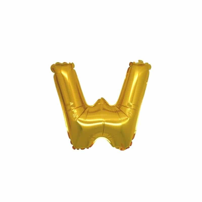palloncini forma lettera W oro lettere piccole