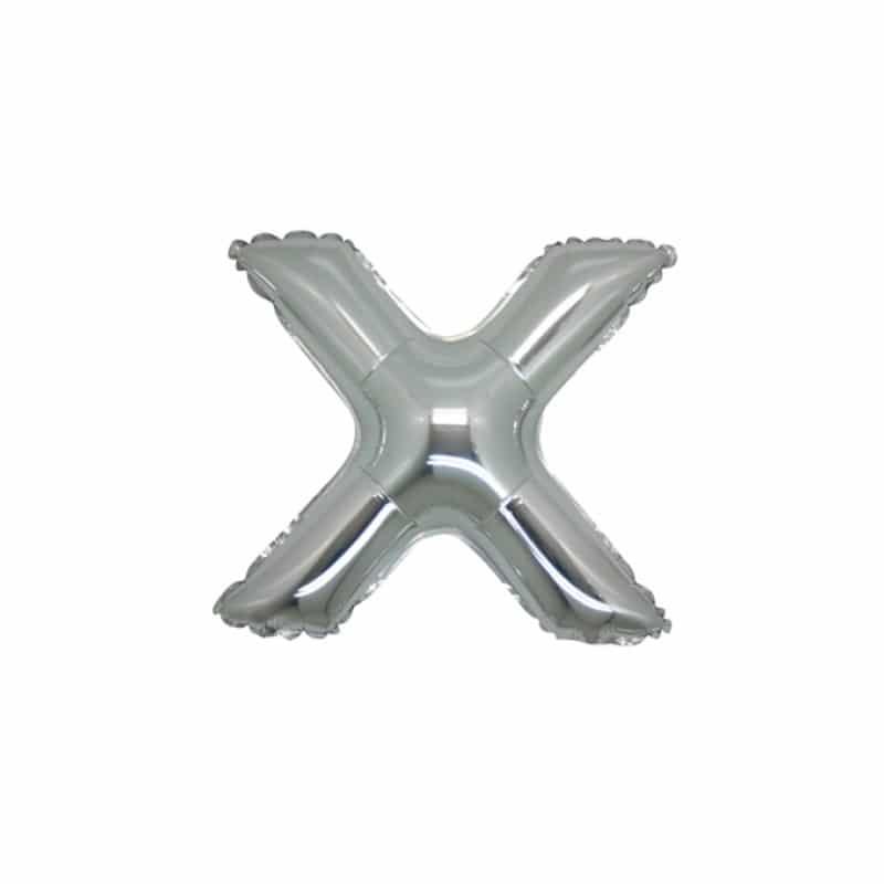 palloncini forma lettera X argento lettere piccole