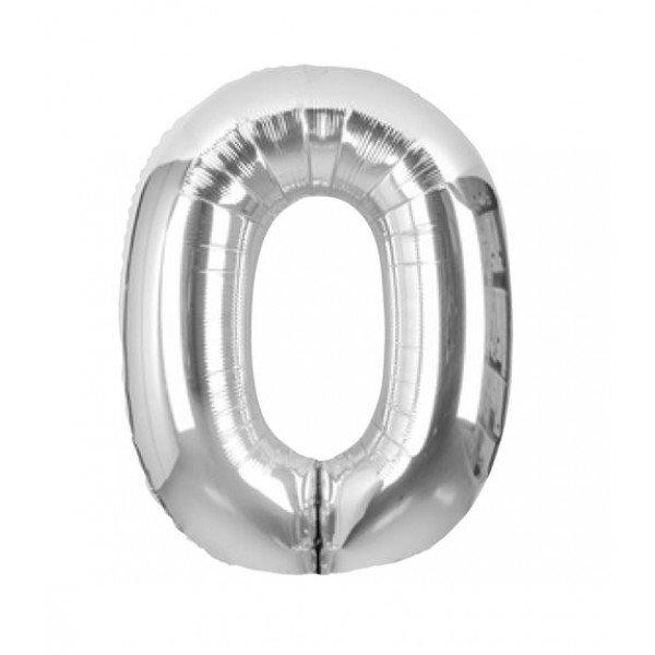 palloncino numero mylar 0 grande argento