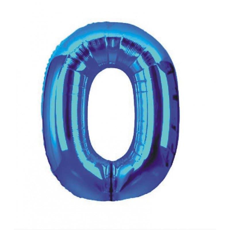 palloncino numero mylar 0 grande blu