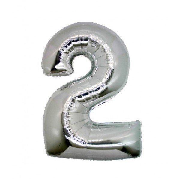 palloncino numero mylar 2 medio argento