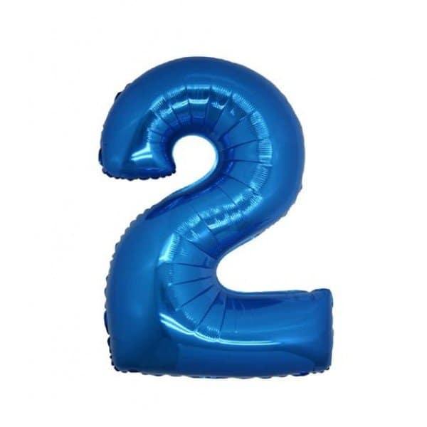 palloncino numero mylar 2 medio blu