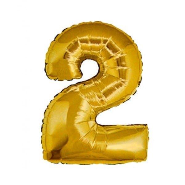palloncino numero mylar 2 medio oro