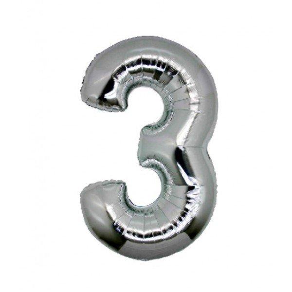 palloncino numero mylar 3 medio argento