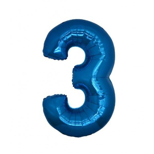 palloncino numero mylar 3 medio blu