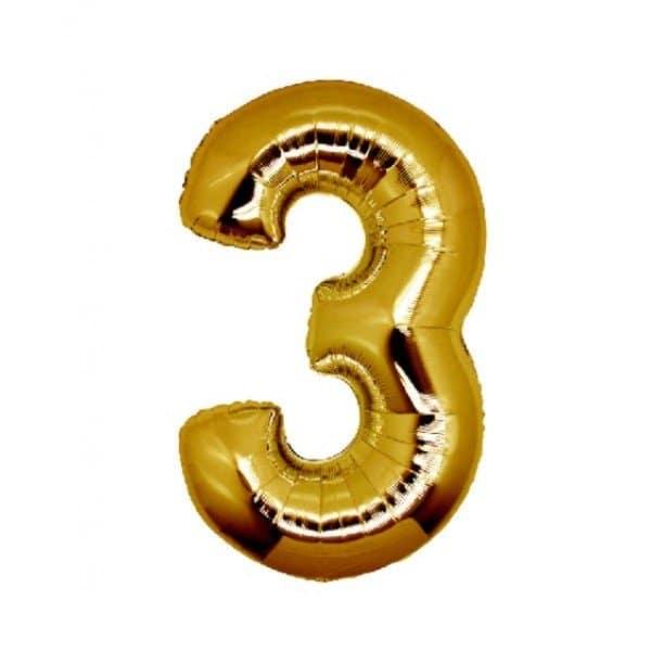 palloncino numero mylar 3 medio oro