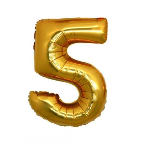 palloncino numero mylar 5 medio oro