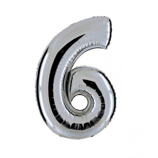 palloncino numero mylar 6 grande argento