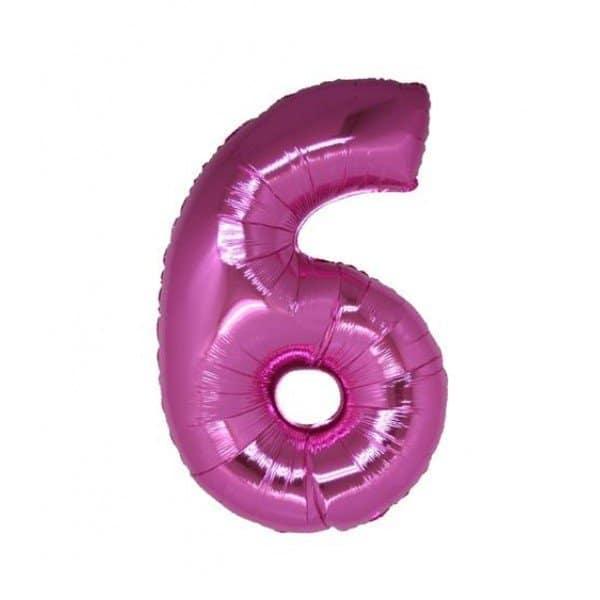 palloncino numero mylar 6 grande fucsia