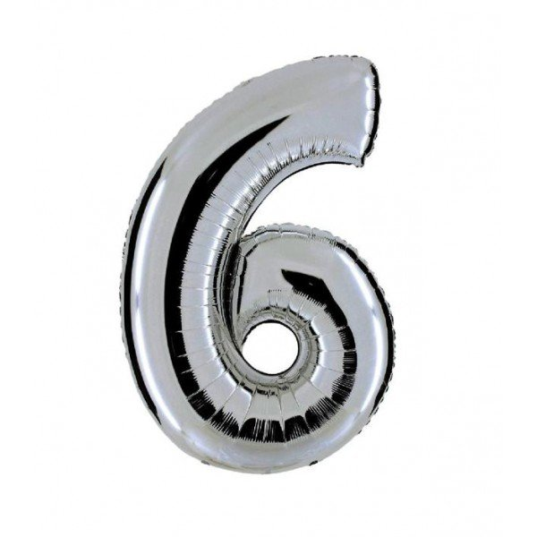 palloncino numero mylar 6 medio argento