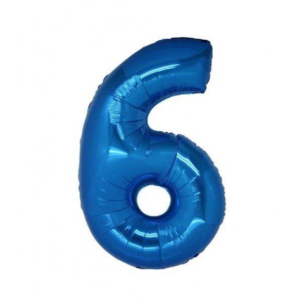 palloncino numero mylar 6 medio blu