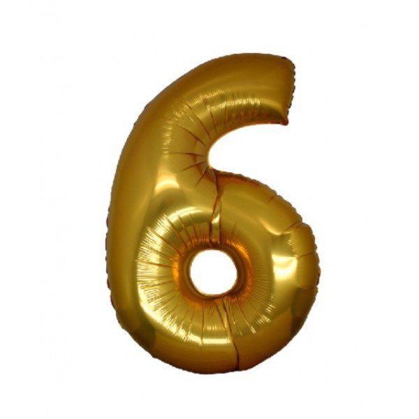 palloncino numero mylar 6 medio oro