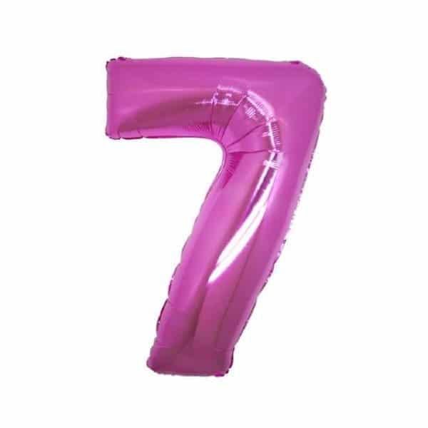 palloncino numero mylar 7 medio fucsia