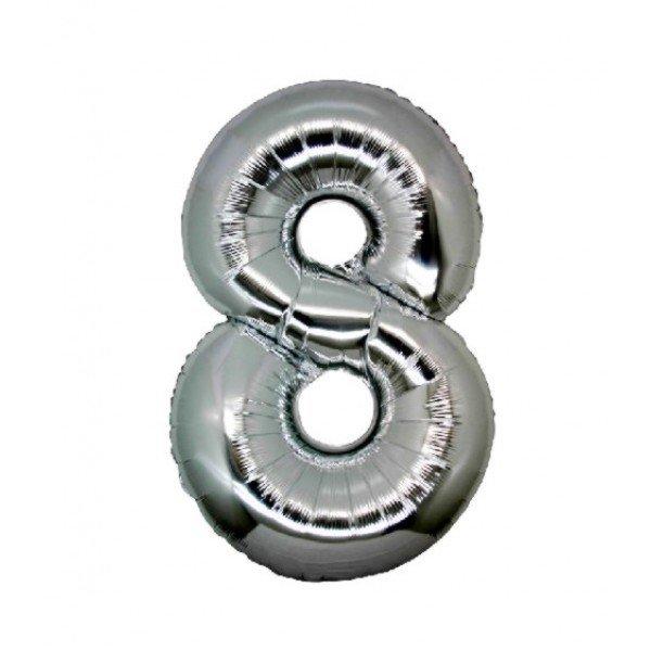 palloncino numero mylar 8 grande argento