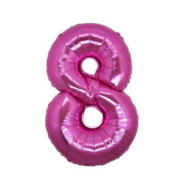 palloncino numero mylar 8 medio fucsia