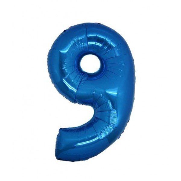 palloncino numero mylar 9 medio blu