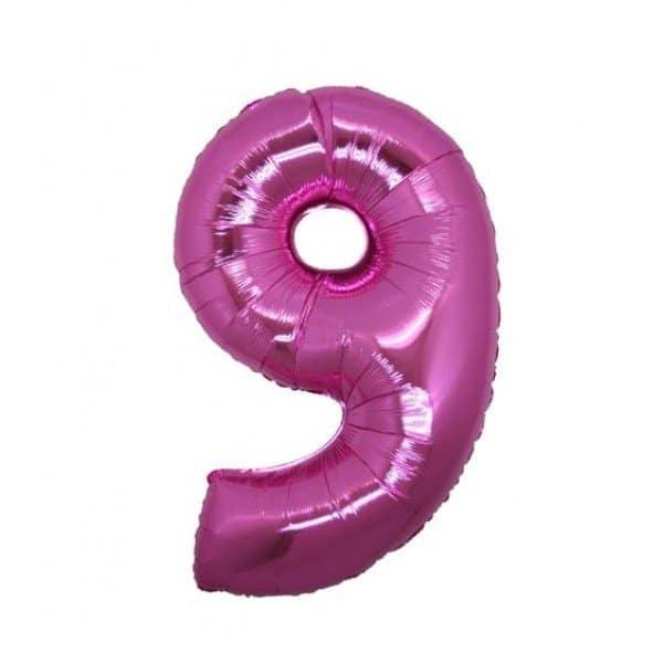 palloncino numero mylar 9 medio fucsia