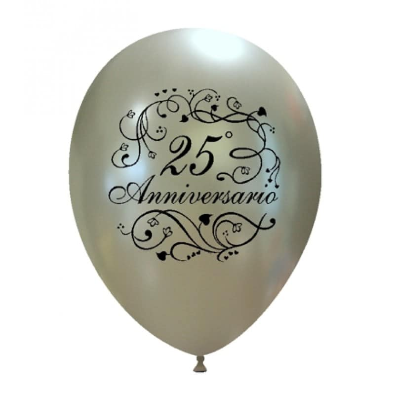 palloncini 25 anniversario di matrimonio argento
